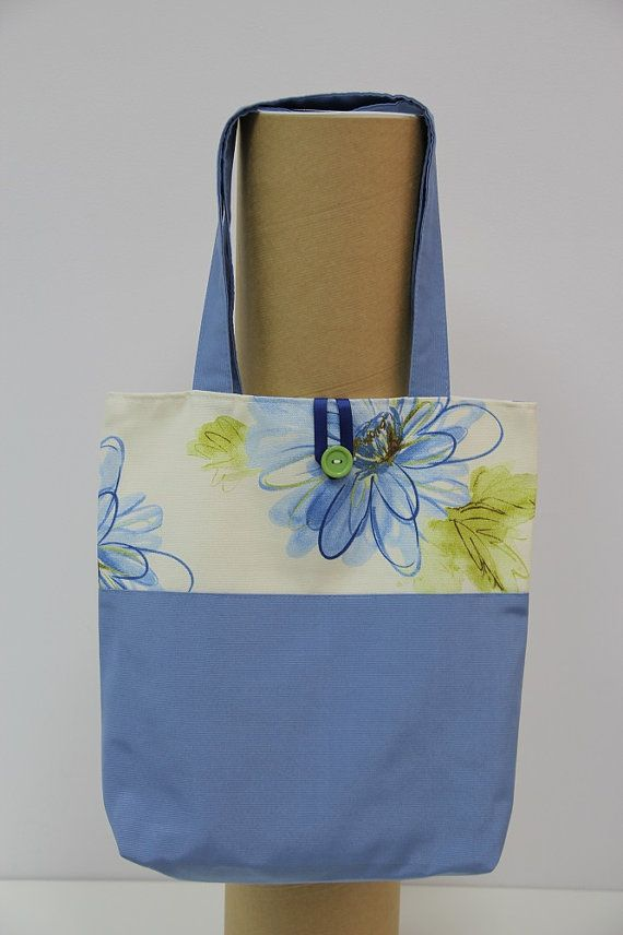 Handmade Shopping Bag, Shopping bag, Tote Bag. Blue flowers shopping bag. Flowers shopping bag