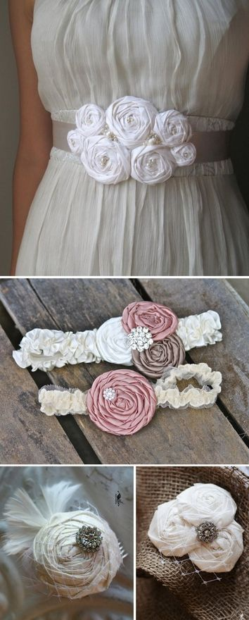 DIY Fabric Rosette Accessories- great for weddings, clothing, accessories and home decor.  @Angela Gray Gray Ashton    You should do an Etsy shop with just your flowers and do BRIDAL accessories!   creative-ideas