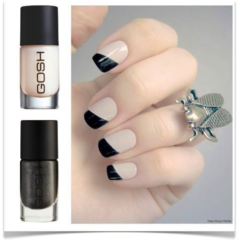 Monochrome look with #GOSH Nail Lacquers in Silk & Black Passion.