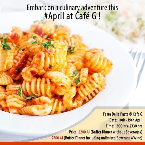 An assortment of #authentic Italian pasta cooked to perfection awaits you at Café G! The Festa Della Pasta is here to take you on your #Italian tour – through Italy's staple dish! #pasta #pastafestival #nomnom #foodie #Italiancuisine #authentic