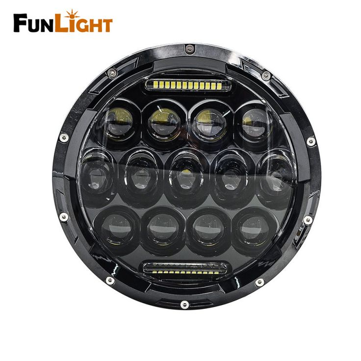 Free shipping 7 inch 75W Motorcycle led Headlight With DRL for harley Black Projector Daymaker HID LED Light Headlights