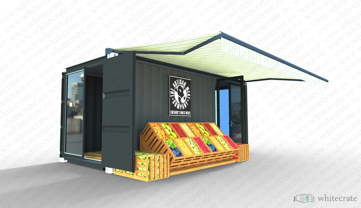 Concept for pop up food store. Whitecrate Designs.  Couldn't it make sense, particularly for seasonal or urban areas without sufficient grocery stores  to use pre stocked shipping containers all set up for retail?! www.popuprepublic.com