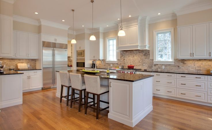 """Backsplash! Also: The wall color is Benjamin Moore Muslin and the trim is Benjamin Moore Cloud White CC40 to match the cabinets."""""""