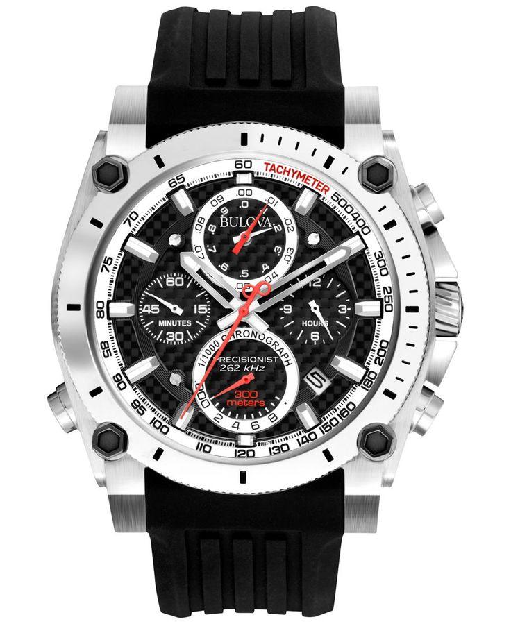 Bulova Men's Chronograph Precisionist Black Rubber Strap Watch 47mm 98B172