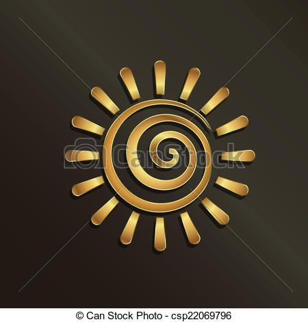 Vector - Spiral golden sun image. Concept of summer, luxury, happiness. - stock illustration, royalty free illustrations, stock clip art icon, stock clipart icons, logo, line art, EPS picture, pictures, graphic, graphics, drawing, drawings, vector image, artwork, EPS vector art