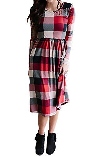 Vestiti Donna Eleganti Casual A Quadri Abiti Da Giorno Manica Lunga Rotondo  Chic Ragazza Collo Larghi 7f8f4ab476a