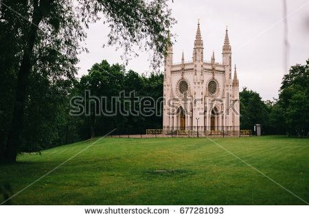 Church of St. Alexander Nevsky in the park Alexandria. Gothic. Peterhof. St. Petersburg. Russia.