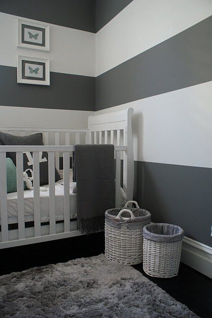 GREY AND WHITE STRIPED WALLS for the baby's room, with navy accent wall, and pops of avocado green accents:)