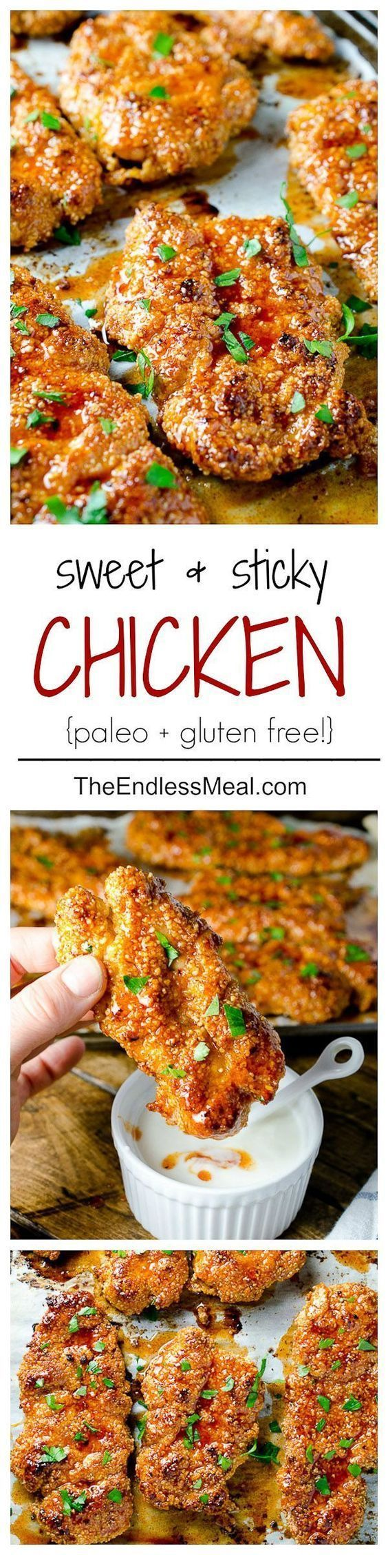 Sweet and Spicy Paleo Chicken Bites ~ Using almond flour, honey and Greek Yogurt makes them delicious but healthy as well!