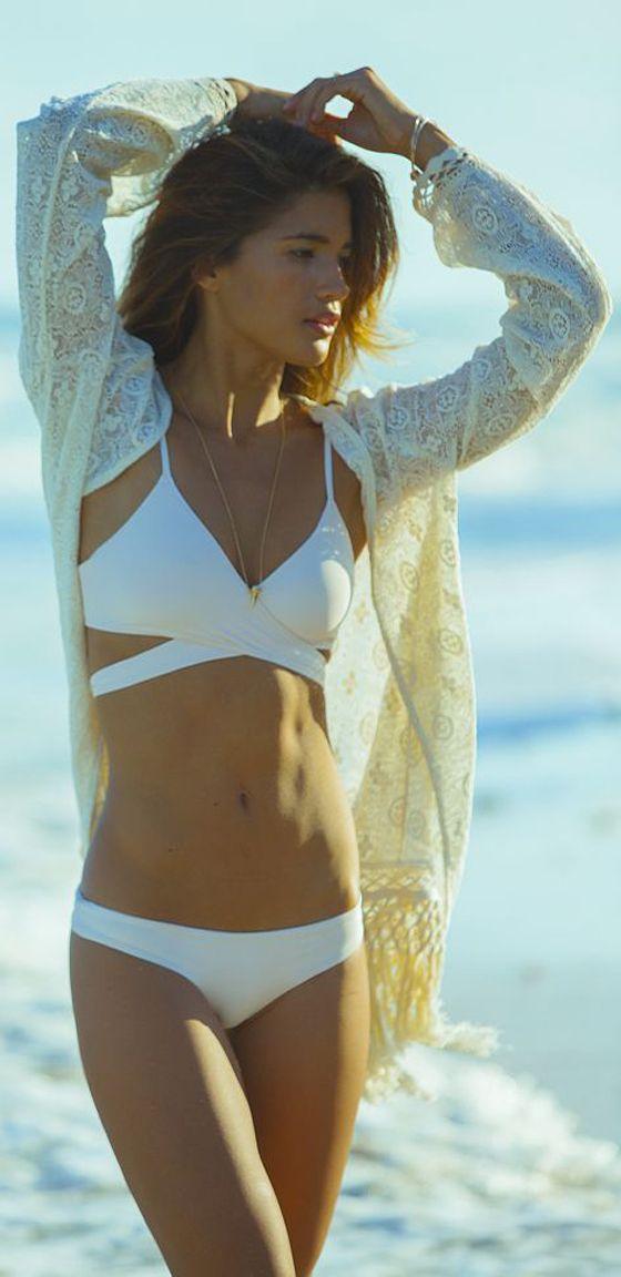 White Plain Condole Belt Pleated Tie Back 2-in-1 Swimwear - Vests - Tops