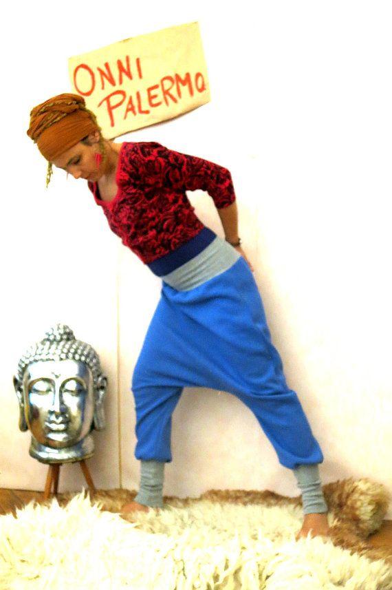 Harem-broek gemaakt van Sweatshirt stof blauwe door OnniPalermo