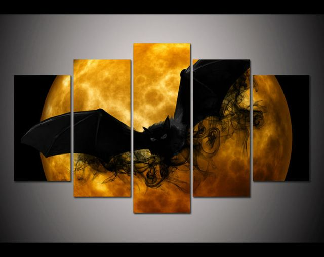 5 Pieces/set wall art Print crazy Halloween picture black bat orange moon poster home Halloween Painting decorations-in Painting & Calligraphy from Home & Garden on Aliexpress.com | Alibaba Group