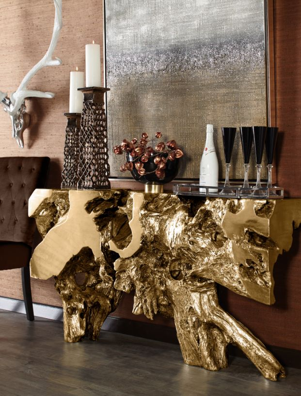 Sequoia Console Table In Gold Decor Furniture Home