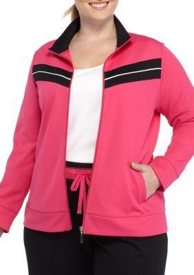 Kim Rogers Women's Plus Size Chevron Inset Zip Front Jacket - Fuchsia/Black - 3X