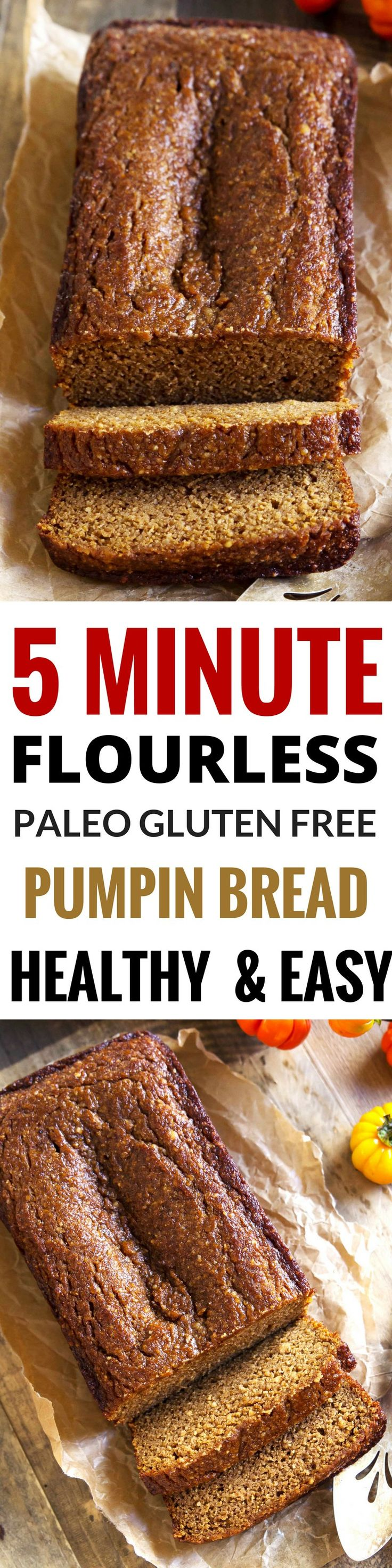 Best Paleo Pumpkin bread great for breakfast! Easy, healthy pumpkin bread recipe. Gluten free, grain free, dairy free paleo pumpkin bread. Easy Gluten Free breakfast food. Healthy baking.