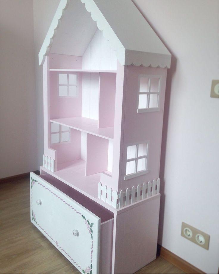 Купить Кукольный домик-стеллаж с большим ящиком - кукольный дом, кукольный домик, кукольная мебель