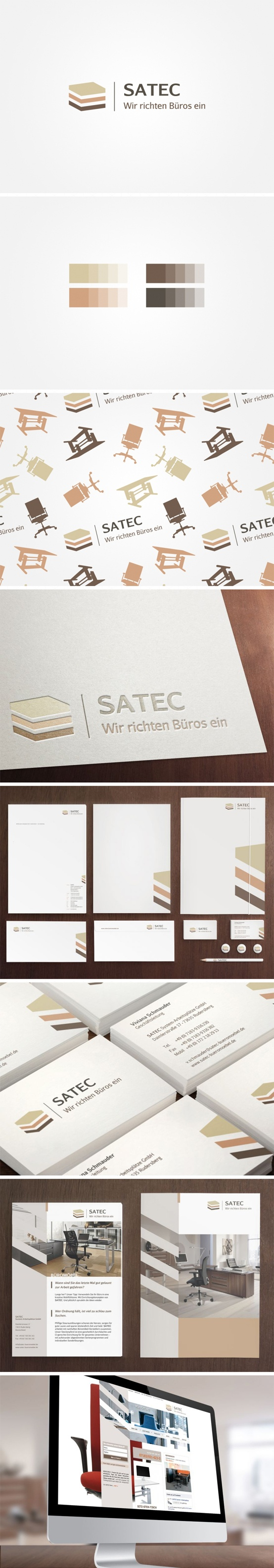 corporate design with website for satec Büromöbel | #stationary #corporate #design #corporatedesign #logo #identity #branding #Germany | made with love in Stuttgart by www.smoco.de