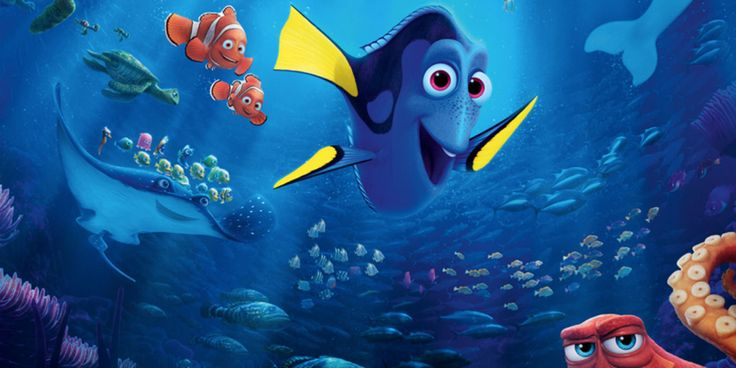 Dory waving with Nemo and friends from Disney's Finding Nemo movie