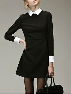 black collared dress outfit - Google Search