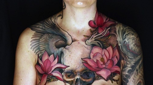 !Skull Tattoo, Chest Tattoo, Jeff Gogue, Colors, Tattoo Artists, Chestpiece, Tattoo Flower, Chest Piece, Tattoo Ink