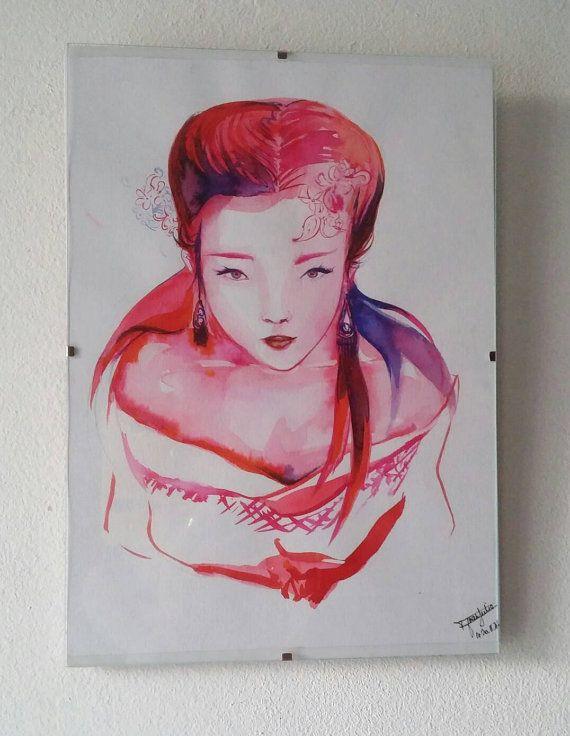 Original painting / Geisha  / Asian art girl / fantastic japan art / Christmas gift #japanese #watercolor #aquarelle