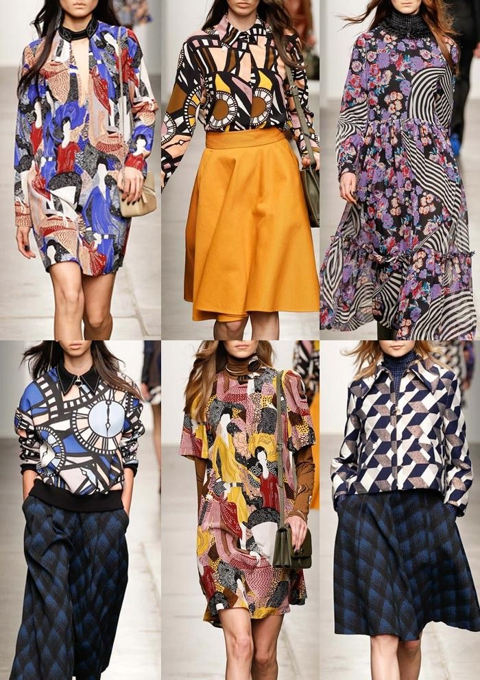 Karen_Walker_AW1516_NY_Group_Style 70s, Psychedelic, Retro geometrics, optical graphic prints, trippy pattern plays, clock-face elemts, floral & swirl patterns