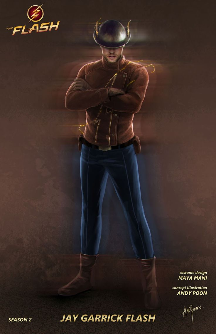 """Concept art by Andy Poon of Jay Garrick as the Flash from season 2 of the CW's """"The Flash"""" (2015-2016)."""