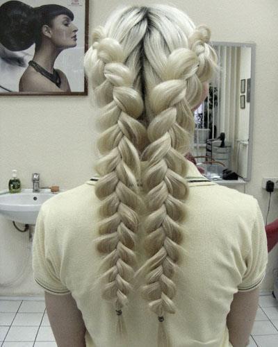 Cool braids [Two puffed/pancake braids. Would be interesting to lace them…