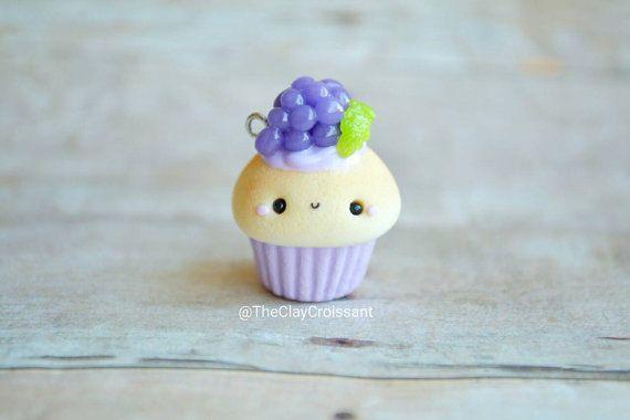 Kawaii Grape Cupcake  Charm Polymer Clay Charm by TheClayCroissant