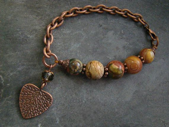 Beautiful & Colorful! Picasso Jasper Bead Charm Bracelet  Copper Crystal    by sewartzee, $21.00