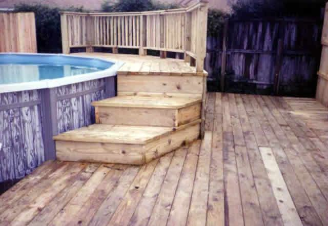 simple decks for pools above ground | Decks 14. Above ground pool deck -  Fences u0026 Decks by Tu0027