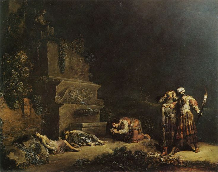 Leonaert Bramer The Finding of the Bodies of Pyramus and Thisbe 46 x 60 cm Oil on copper Signed at the bottom, left of centre: L. Bramer Louvre, Paris