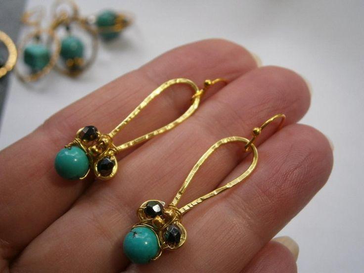 Ohrringe,Türkis,wirework,vergoldet,Unikat von kunstpause auf DaWanda.com