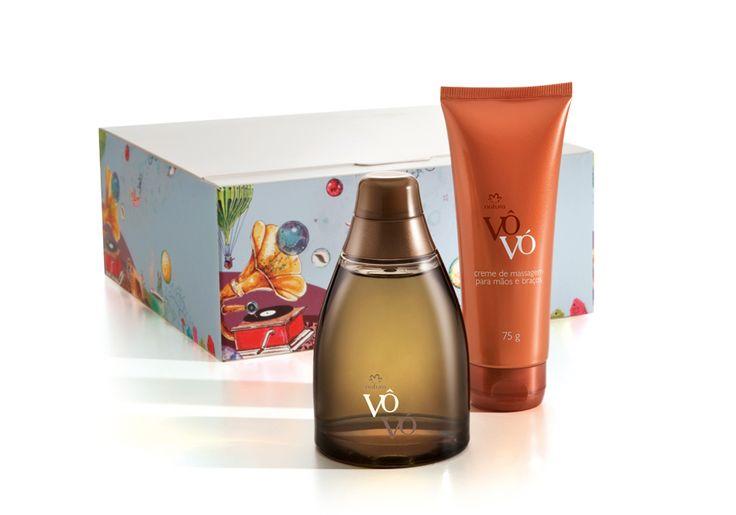 Presente Natura Vôvó Masculino - Desodorante Colônia + Creme de Massagem + Embalagem Desmontada