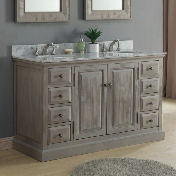 Infurniture 60inch White Carrera Marble Double Sink