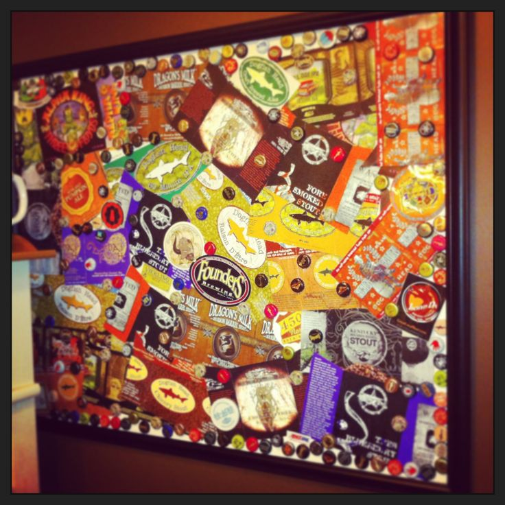 Repurposed beer bottle caps and cartons for my hubby!