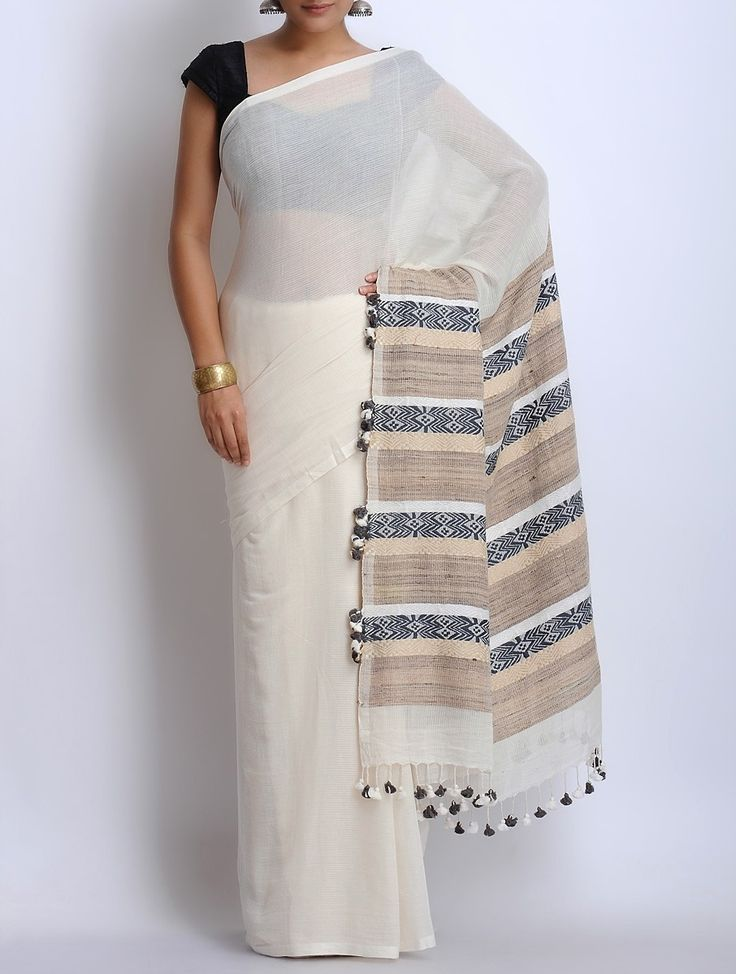 Buy White Grey Cotton Tassel Handwoven Saree Sarees Woven Online at Jaypore.com