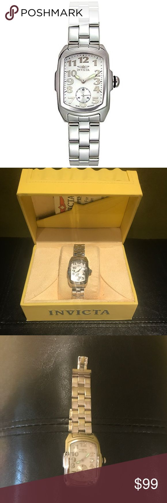 """Invicta Baby Lupah Ladies watch Good used condition. Baby Lupah model#2853 w/Stainless Steel link band w/invisible double lock clasp, mineral crystal, white dial w/tritnite luminous hands, second hand sub-dial, water resistant to 330 ft. Fits 6 - 6 1/4"""" wrist. Scuffs on band, more so on top half, some wear & lite scratches here & there. Glass face is great, no scuffs or scratches.  New battery as of 10/19/17.  *Box not included.   **1st pic not actual watch; for visual purposes. All other…"""