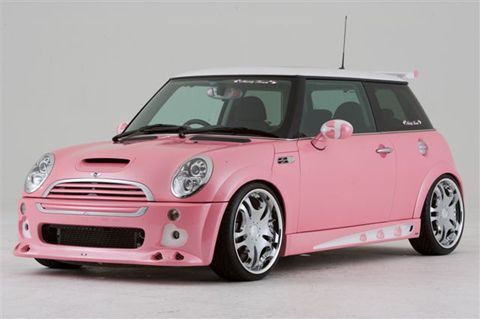See now I AM a Pink Girlie-Girl (am wearing it even now) but on a Mini Cooper .... it's a bit too much even for me! Now make it red or royal blue & I'm THERE!