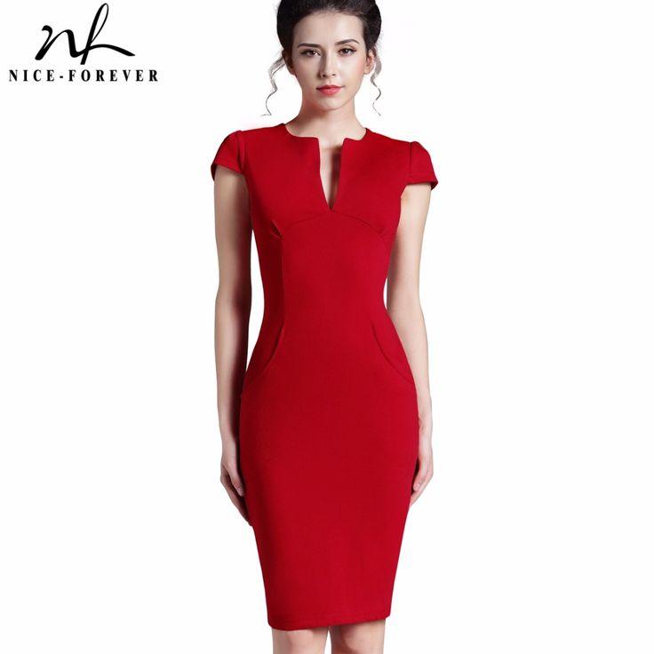 Cheap pocket dress, Buy Quality deep v neck directly from China deep v  Suppliers: Nice-forever Office Women Vintage Summer Solid Deep V neck  Zipper Back ...