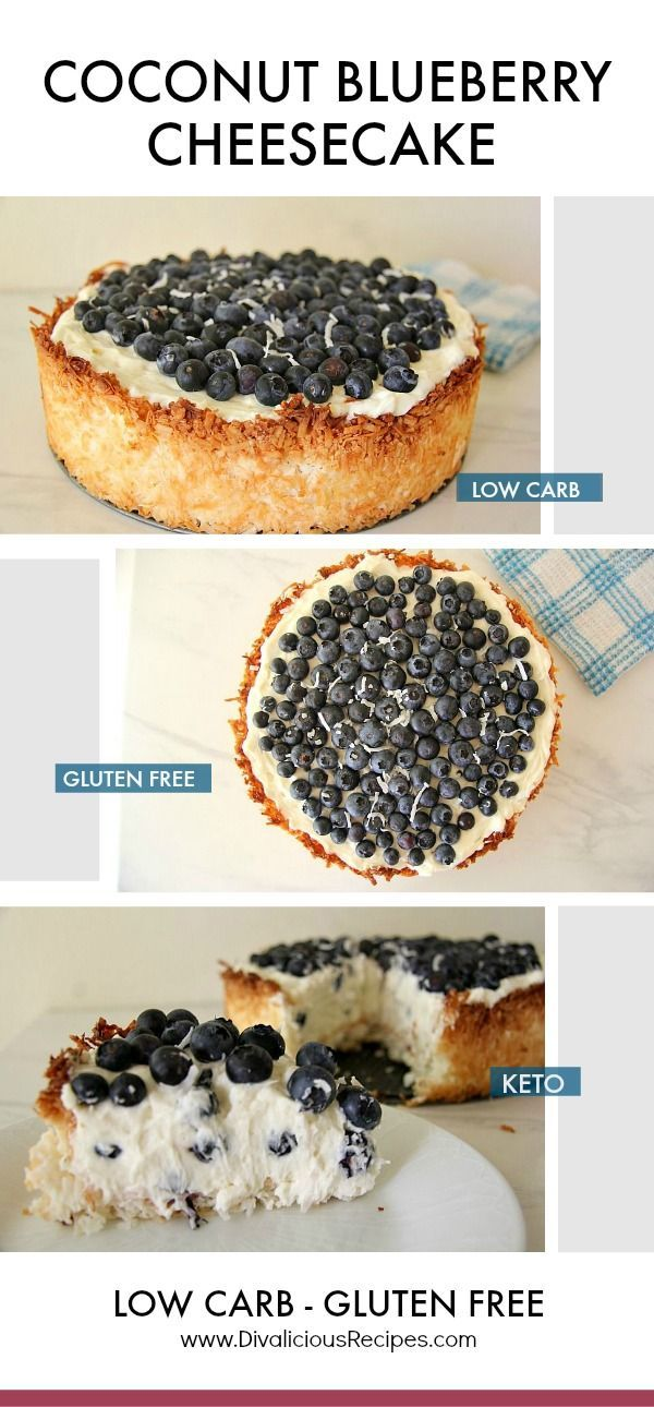 This blueberry cheesecake is a no bake cheesecake made in a coconut macaroon crust.    A delicious alternative to a biscuit crust as well as it being a low carb & gluten free option.