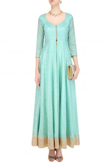 Abhinav Mishraa turquoise blue front open jacket in chanderi base with gold motifs all over the front and back and gold wide border around the hem. It has loop button closure detailing on the front bodice and high mid slit on the centre. It is paired with matching turquoise blue cotton silk straight pants.