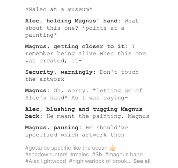 Should have specified ...  alexander 'alec' lightwood, magnus bane, malec, the mortal instruments, shadowhunters