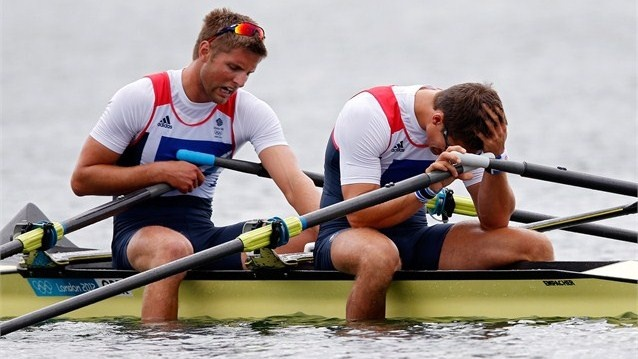Team GB's Bill Lucas and Sam Townsend react after Double Sculls final. Upset after getting silver
