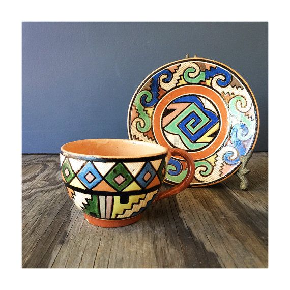 Red Clay Teacup and Saucer  Southwestern by JustSmashingDarling