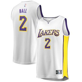 brand new f5f84 011c9 Lonzo Ball Los Angeles Lakers Fanatics Branded Youth Fast ...