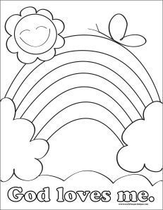 God Loves Me Coloring Pages Printable, Preschool Valentine