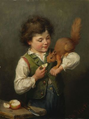 Heinrich Hirt ~ An Apple A Day Keeps The Hunters At Bay.....