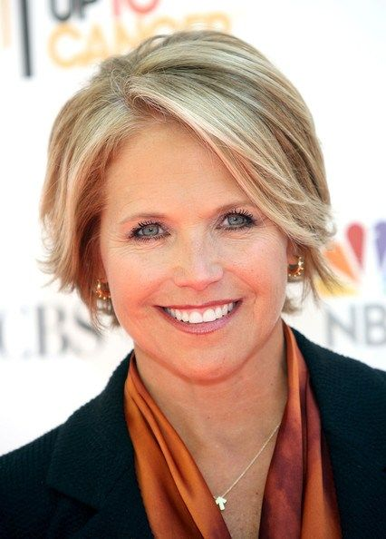 #62: Short Textured A-Line Hairstyle Katie Couric's radiant look instantly draws attention to her bright blue eyes and stylish A-line 'do with the enhanced texture and disconnected ends. Subtle highlights and some volume around your face are big pluses.