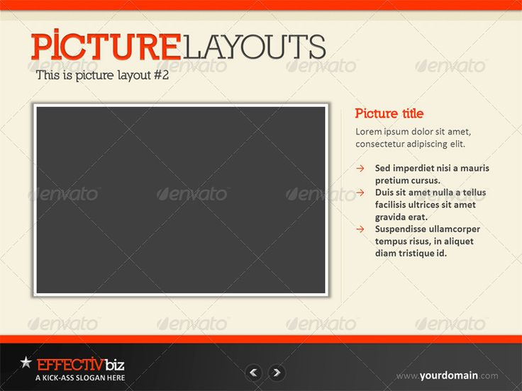 EFFECTIVbiz - Professional PowerPoint Presentation - SCREEN 7  A picture layout with 1 main image and a description on its side.
